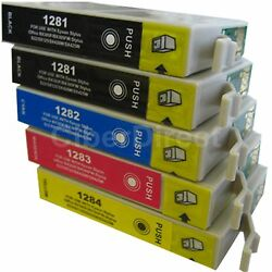 5 CiberDirect Replacements for Epson T1285 Printer Ink Cartridges - VAT Invoice $9.97