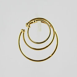 1 pr Gold Plated Hoop Cuff Earrings with 2 mm Ball Non-Pierced Pick From 3 Sizes