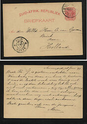 South  Africa   postal  card to  Holland  1899                  SSS0423