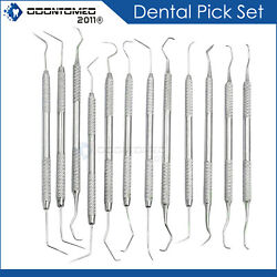 12 Pcs Dental Pick Tools Tooth Probe Stainless Steel Instruments $9.99