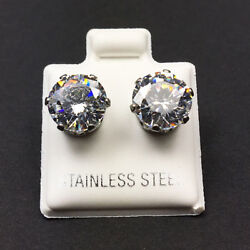 Hypoallergenic 316L Surgical Stainless Steel Round White Clear CZ Stud Earrings