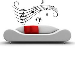 CLEF MUSIC NOTES VINYL WALL DECAL STICKER HOME DECOR ART 13quot; X 24quot; $12.87