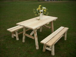 Rustic White Cedar Log 5 Foot Picnic Table with Detached Benches -Amish Made USA