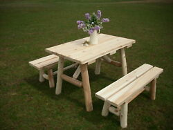Rustic White Cedar Log 4 Foot Picnic Table with Detached Benches -Amish Made USA