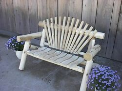 Rustic Outdoor White Cedar Log 6 Foot Park Bench - Amish Made in the USA