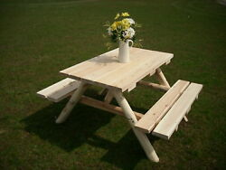 Rustic White Cedar Log 4 Foot  Picnic Table with Attached Benches-Amish Made USA
