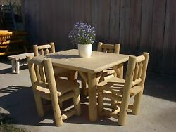Rustic White Cedar Log Table and Chair Set- Amish Made in the USA