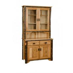 Rustic Hickory and Oak 2 Door Buffet & Hutch - Amish Made in USA