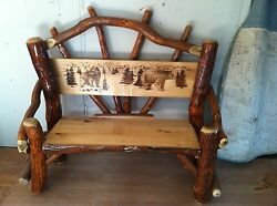 Sassafras Rustic Log 4 foot Park bench BEAR graphic Amish Made chair in USA