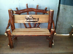 Sassafras Rustic Log 4 foot Park bench Horse graphic Amish Made chair in USA