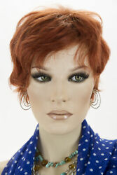 Fox Red Clear Cool Vivid Red Red Medium Short Human Hair Wavy Straight Wigs $53.99