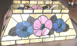Vintage Stain lead glass Stained Hanging Ceiling Pendant Floral Light fixture $365.00
