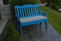 Poly Furniture Wood 5 Foot ROYAL ENGLISH GARDEN BENCH *BLUE COLOR* 5 Ft Bench