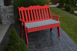 Poly Furniture Wood 5 Foot ROYAL ENGLISH GARDEN BENCH *BRIGHT RED* 5 Ft Bench