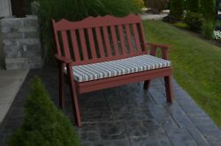 Outdoor Poly 5 Foot ROYAL ENGLISH GARDEN BENCH *CHERRY WOOD* Made in USA
