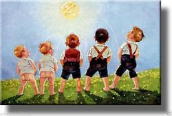 Boys Urinating into the Sun Toilet Bathroom Decor Picture on Stretched Canvas $29.98