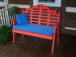 Poly Furniture Wood 4 Foot  MARLBORO GARDEN BENCH *BRIGHT RED* 4 Ft Bench