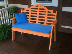 Poly Furniture Wood 5 Foot  MARLBORO GARDEN BENCH *TANGERINE ORANGE* 5 Ft Bench