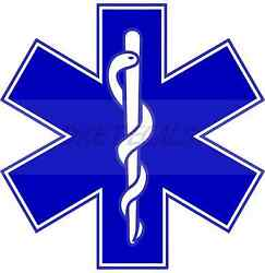 4quot; Star of Life Reflective Emergency Medical EMT Paramedic Decal MTPL Colors $3.50