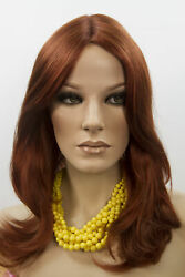 Fox Red Clear Cool Vivid Red Red Long Medium Monofilament Hand Tied Wavy Wigs $94.99