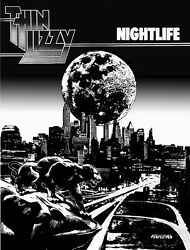 Thin Lizzy NIGHTLIFE POSTER B&W print 33x23 By Jim Fitzpatrick.