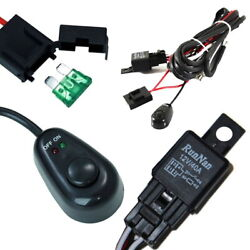 Universal Relay Harness Wire Kit + LED ONOFF Switch For Fog Lights HID Worklamp $10.00