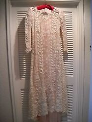 ANTIQUE EXQUISITE FINE IRISH LACE WEDDING DRESS PLUS SIZE  FROM SAN FRANCISCO