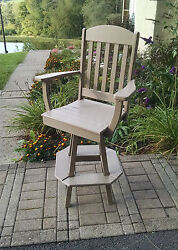 Poly Lumber Wood Classic Swivel Bar Chair Stool - Amish Made in USA