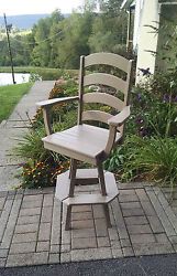 Poly Lumber Wood Ladderback Swivel Bar Chair Stool - Amish Made in USA