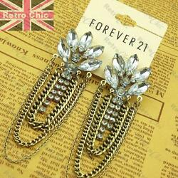 4quot;long BIG CHAIN CHANDELIER EARRINGS vintage gold fashion FOREVER 21 rhinestone GBP 2.99