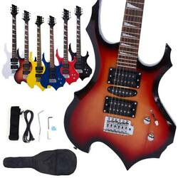New 6 Colors Flame Type Beginner Electric Guitar Bag Case Cable Strap Picks $68.95