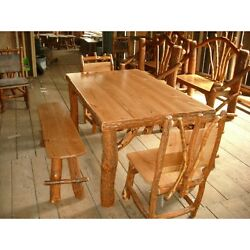 Sassafras & Cherry Wood Rustic Log Kitchen Table + 2 Chairs 2 Benches