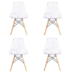 Mid Century Modern Eames DSW Style Molded Plastic Side Dining Chair - SET OF 4