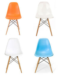Mid Century Modern Eames DSW Style Molded Plastic Side Dining Chair - SET OF 2