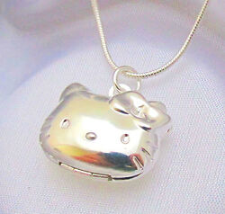 Sterling Silver Hello Kitty Cat Kids Locket Pendant Necklace Photo Gift Box $12.50