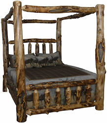 Rustic Aspen Log Bed- QUEEN SIZE - Canopy Style