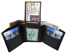 BLACK MEN#x27;S GENUINE LEATHER TRIFOLD WALLET 7 CARD 2 ID WINDOW FLAP TOP HOLDER $10.03