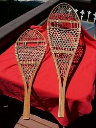 Vintage TUBBS Cross Country WOODEN SNOWSHOES Made in Wallingford VT 48quot; x 14quot; $127.77