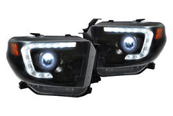 RECON Lighting Projector Headlights w LED DRL's - Smoked 14-15 Toyota Tundra