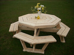 Rustic White Cedar Log Walk in Octogan Picnic Table- Large Size- Amish Made USA
