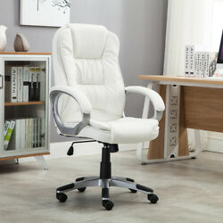 White Faux Leather Modern Executive Computer Conference Desk Office Task Chair $99.99