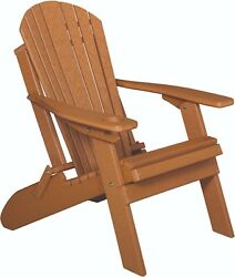 Poly Lumber Wood  Folding Adirondack Chair  with Cup Holder *CEDAR*