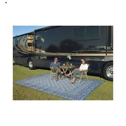 Outdoor Area Rug 9 x 12 Reversible Patio Mat RV Camping Picnic Area Yard Beach
