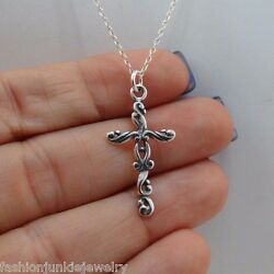 Filigree Cross Charm Necklace 925 Sterling Silver Pendant Faith Jewelry NEW $20.00