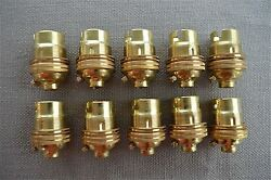 10 BRASS BAYONET FITTING BULB HOLDER LAMP HOLDER EARTHED WITH SHADE RING 10MM L2 GBP 29.99