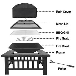 Outdoor 32quot; Metal Firepit Backyard Patio Garden Square Stove Fire Pit With Cover $83.99