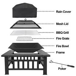 Outdoor 32quot; Metal Firepit Backyard Patio Garden Square Stove Fire Pit With Cover $82.99