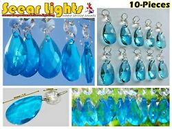 10 CHANDELIER CUT GLASS LIGHT PARTS CRYSTALS DROPS ANTIQUE TEAL OVAL DROPLETS GBP 21.99