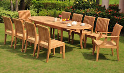 11 PC TEAK GARDEN OUTDOOR PATIO FURNITURE NEW LAGOS DINING 10 ARMLESS DECK L06