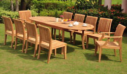 11 PC TEAK GARDEN OUTDOOR PATIO FURNITURE - LAGOS DINING 2 ARMS
